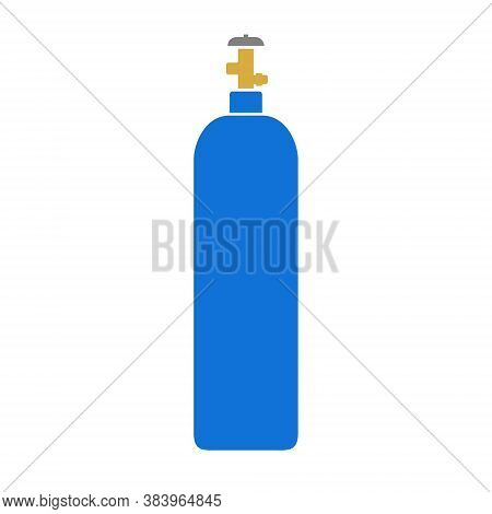 Blue Gas Cylinder Isolated On White, Vector Illustration
