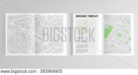 3d Realistic Vector Layout Of Cover Mockup Design Templates With Urban City Map Of Paris For A4 Bifo