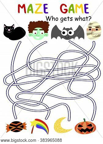 Halloween Maze Game For Kids Stock Vector Illustration. Educational Funny Worksheet With Black Cat,