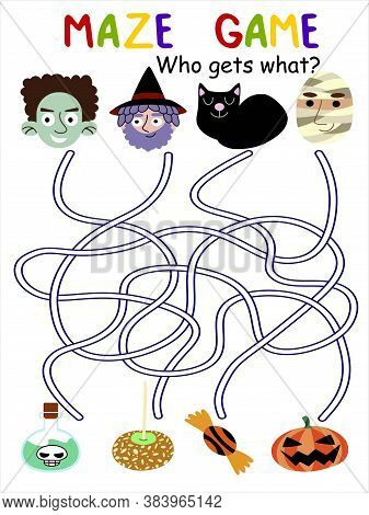 Halloween Maze Game With Cartoon Characters Stock Vector Illustration. Who Gets What Visual Puzzle F