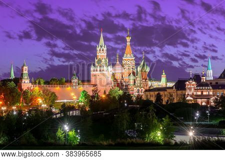 Moscow Skyline With Cathedral Of Vasily The Blessed (saint Basil's Cathedral) And Spasskaya Tower Of