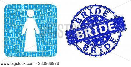 Bride Unclean Round Seal Print And Vector Recursive Mosaic Bride. Blue Stamp Seal Includes Bride Tex