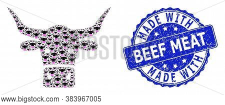 Made With Beef Meat Corroded Round Seal And Vector Recursion Collage Beef Head. Blue Stamp Seal Cont