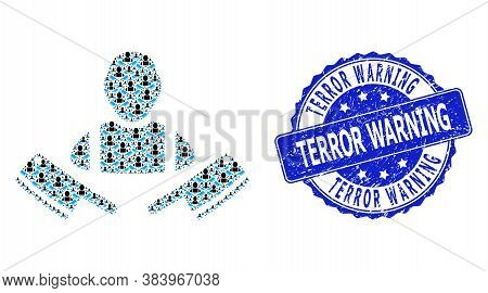 Terror Warning Rubber Round Seal Imitation And Vector Fractal Mosaic Butcher Man. Blue Stamp Seal Co