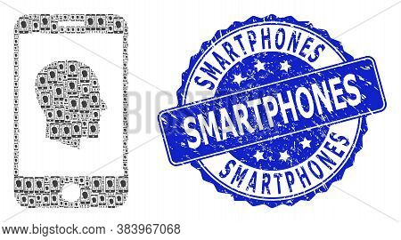 Smartphones Grunge Round Stamp And Vector Recursive Mosaic Cellphone Profile. Blue Stamp Seal Contai