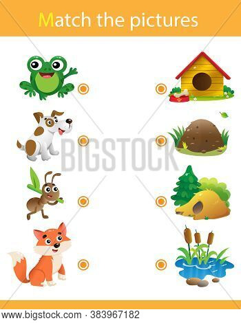 Matching Game, Education Game For Children. Puzzle For Kids. Animals With Their Homes. Frog, Dog, An