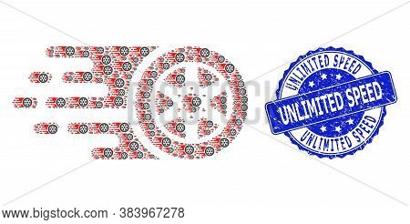 Unlimited Speed Dirty Round Stamp Seal And Vector Recursive Composition Bolide Car Wheel. Blue Stamp