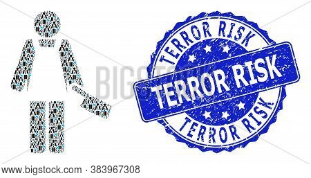 Terror Risk Grunge Round Seal Imitation And Vector Fractal Mosaic Butcher Person. Blue Seal Has Terr