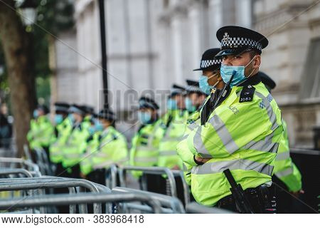 London / Uk - 2020.09.05: Police Officers On Duty At Save Our Children Protest Against Children Traf