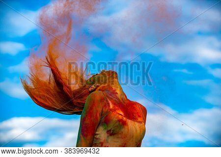 Hair Colorful Holi Splash. Abstract Colourful Splash. Holi Festival. High Fashion Model Girl With Co