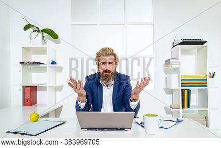Bossy Caucasian Man Entrepreneur With A Laptop Inside In Office. Man Boss. Businessman Bossy Working