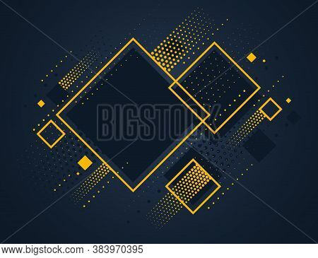 Artistic Colorful Frame With Different Elements Over Dark, Vector Abstract Background Art Style Gold