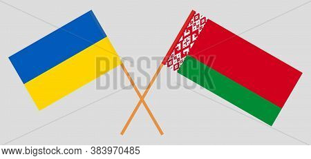 Crossed Flags Of Belarus And Ukraine. Official Colors. Correct Proportion. Vector Illustration