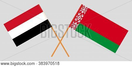 Crossed Flags Of Belarus And Yemen. Official Colors. Correct Proportion. Vector Illustration