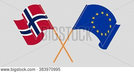 Crossed And Waving Flags Of Norway And The Eu. Vector Illustration