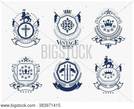 Luxury Heraldic Vectors Emblem Templates. Vector Blazons. Classy High Quality Symbolic Illustrations