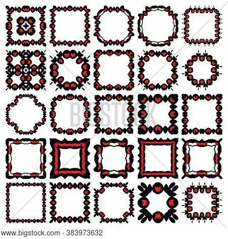 Vector Vintage Set Of Frames In Red And Black Colours, With Abstract Geometric Design Elements. Isol