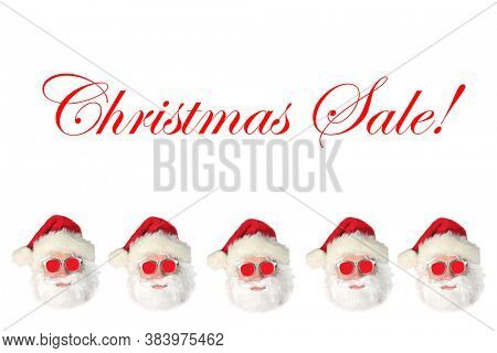 Santa Claus wearing Red Sunglasses isolated on white with
