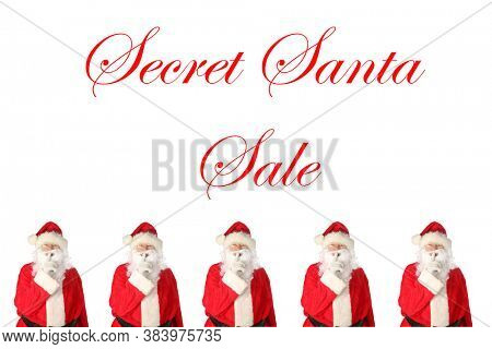Christmas Holiday Sales. Santa Claus with his finger on his lips saying
