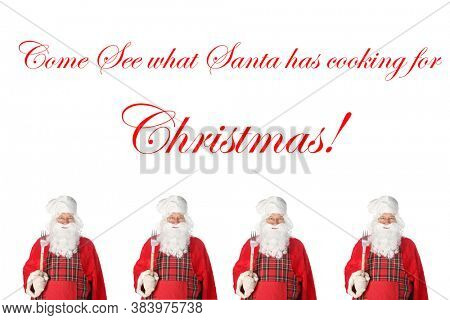 Christmas Holiday Sales. Santa Claus wearing his Barbecue Apron isolated on white with