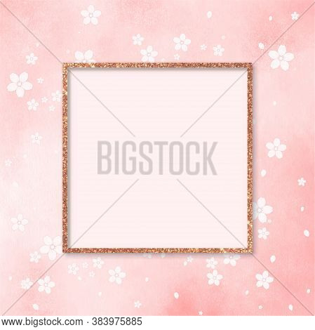 Vector Pink Gallery Frame, Mock Up Pink Glitter Frame Screen Template With Blank Cover, Square Frame