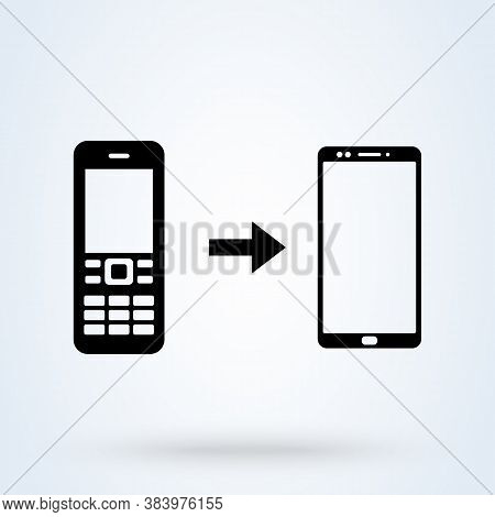 Mobile Phone Evolution. Concept Of The Evolution Of A Mobile Phone From An Old Button Cell Phone To