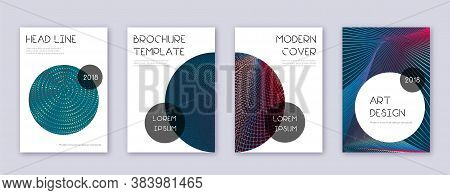 Trendy Brochure Design Template Set. Red Abstract Lines On White Blue Background. Bold Brochure Desi