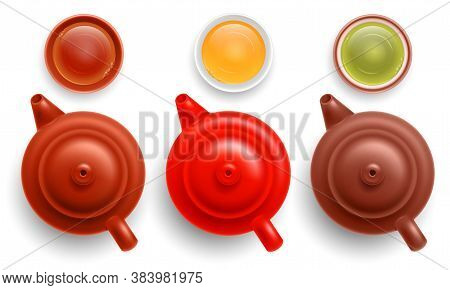 Set Of Chinese Ceramic Multi Colored Teapots With Cups Of Tea. Black, White And Green Tea Grades. To