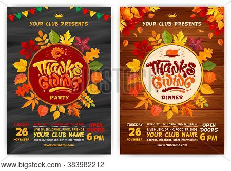 Set Of Vector Templates For Flyers Or Posters On Thanksgiving Day. Black Chalkboard And Wooden Backg