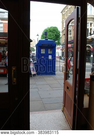 London / England, Uk - July 1, 2014: Police Blue Box In Earls Court London Underground Station. Tard