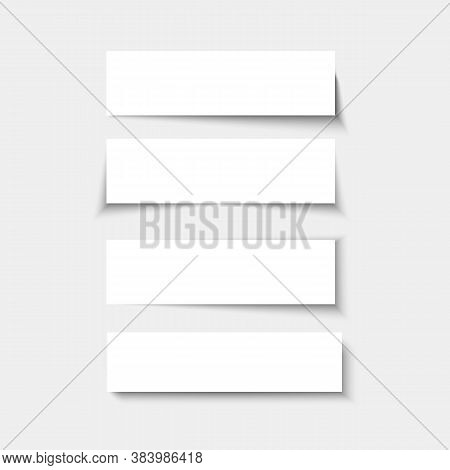 Set Of Banners With Shadows. Empty Rectangle Panels With Shade. Vector