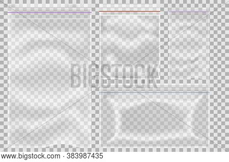 Set Of Sealed Empty Transparent Plastic Zipper Bag Close Up Isolated On Background