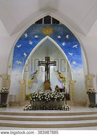 Badung Bali, Indonesia - September 22, 2019: Interior Of Saint Francis Xavier Catholic Church In Kut