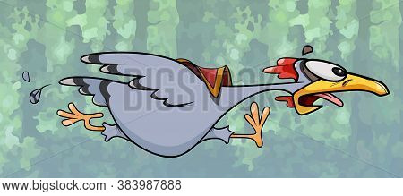 Funny Cartoon Chicken With Saddle On Its Back Running At High Speed