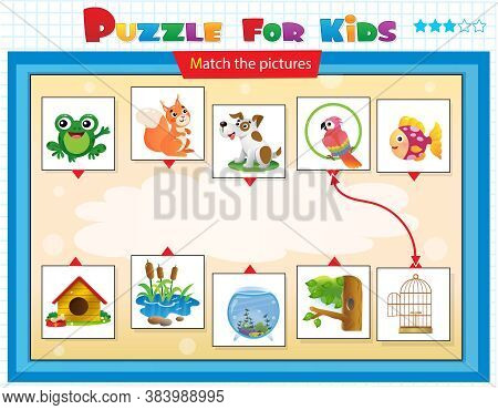 Matching Game For Kids. Cartoon Animals With Their Homes. Frog, Squirrel, Dog, Parrot, Fish.