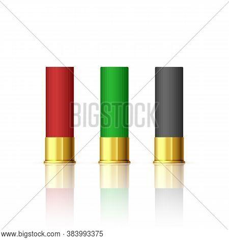 Rifle Bullet Set. Shotgun Hunting Firearms Cartridges. Different Rifle Bullet. Vector