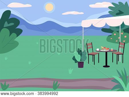 Outdoor Picnic Spot Flat Color Vector Illustration. Green Landscape. Urban Scenery. Sunny Day Outsid