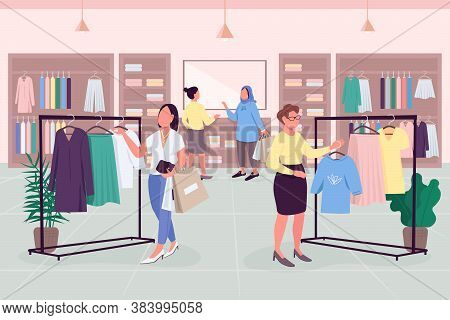 Female Drive Flat Color Vector Illustration. Shopping Habits. Ready-to-wear Boutique. Following Fash