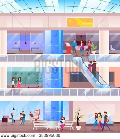 Shopping Mall Flat Color Vector Illustration. Buyers In Center. Supermarket Indoors With People On R