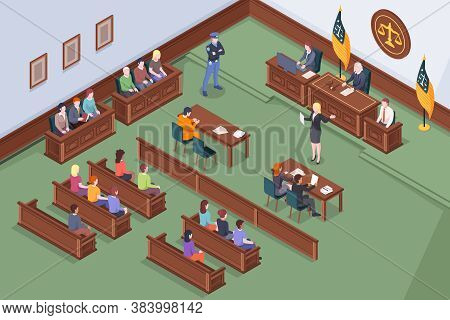 Court Hearing At Courtroom, Judge And Justice Jury At Trial Process, Isometric Illustration. Judge,