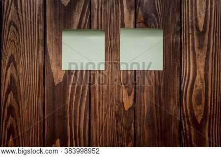 Wooden Background With A Beautiful Texture. Two Blank Stickers For Text. Mockup. Advertising Poster,