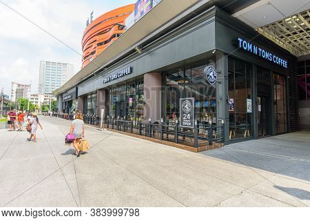Bangkok, Thailand - 2 September, 2020 : Tom N Toms Cafe Shop Front Side At Seacon Bangkae Shopping M
