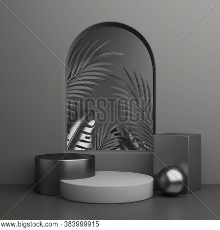 Black Friday Window Display Podium Background With Palm Leaves, Product Display Mock Up On Studio Li