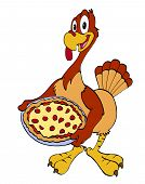 hand drawn cartoon turkey serving a pizza dinner poster