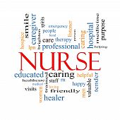Nurse Word Cloud Concept with great terms such as rn care brighten caring helpful and more. poster