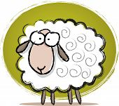 Illustration of cute sheep with sketch style drawing poster
