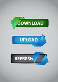 Stock Vector Illustration: Web Elements Vector Button Set. Dowload Button. Upload Button. Refresh Bu
