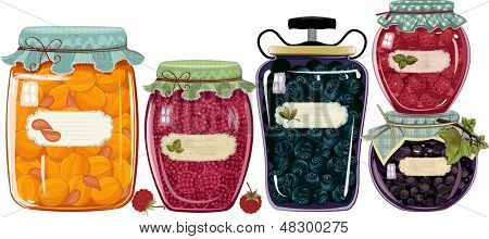 Set of glass jars with jam from berries fruit  isolated over white background
