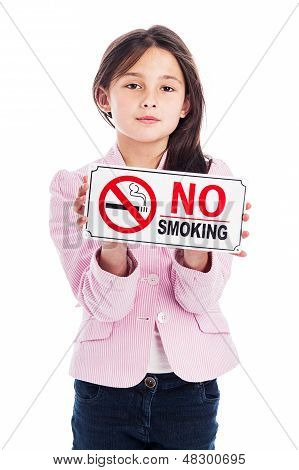 Young Girl With A No Smoking Sign.