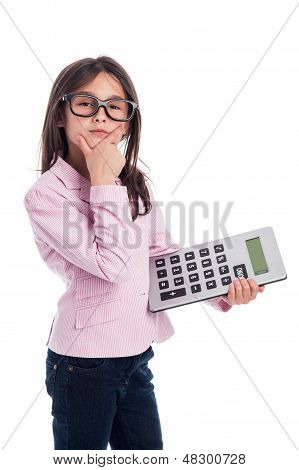 Cute Young Girl With Glasses And A Calculator.
